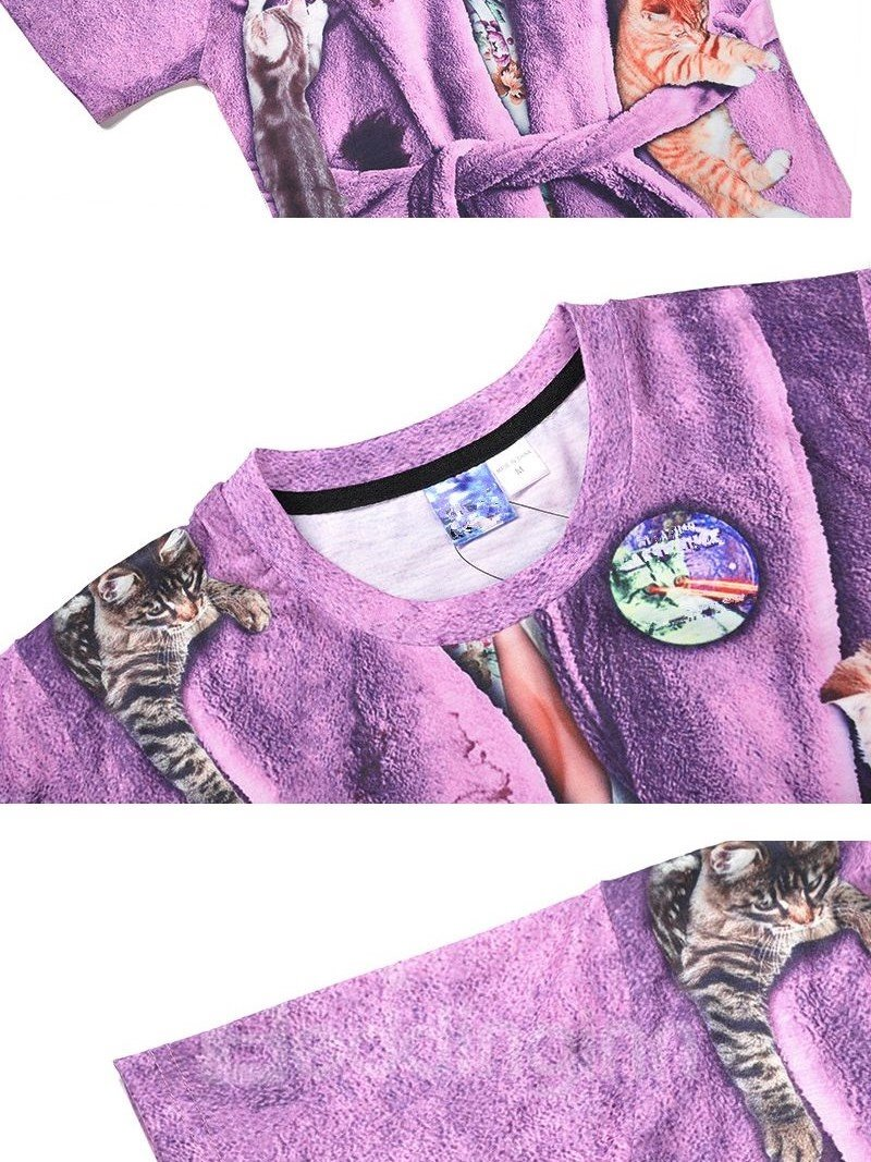 Attractive Round Neck Bathrobe Pattern 3D Painted T-Shirt
