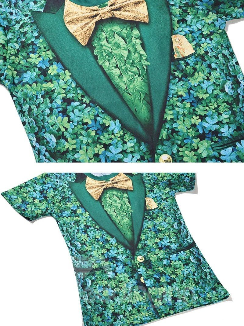 Fantastic Round Neck Bow Tie Pattern 3D Painted T-Shirt