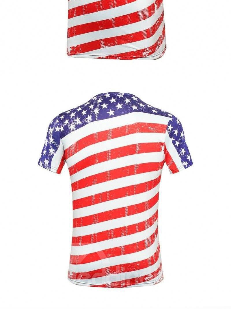 Wonderful Round Neck Stripes, Stars And Eagle Pattern 3D Painted T-Shirt