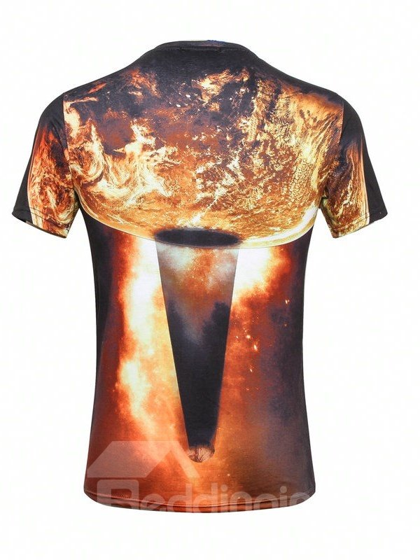 Shining Round Neck Planet Pattern 3D Painted T-Shirt
