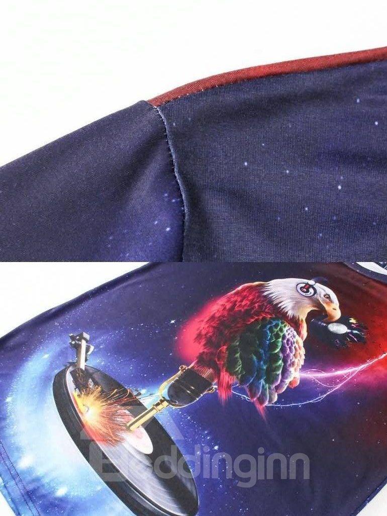 Vigorous Round Neck Eagle Pattern 3D Painted T-Shirt
