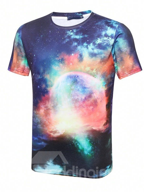 Luxury Round Neck Sky Pattern 3D Painted T-Shirt