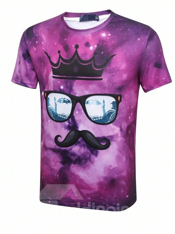Shining Round Neck Crown Sunglasses And Beard Pattern 3D Painted T-Shirt