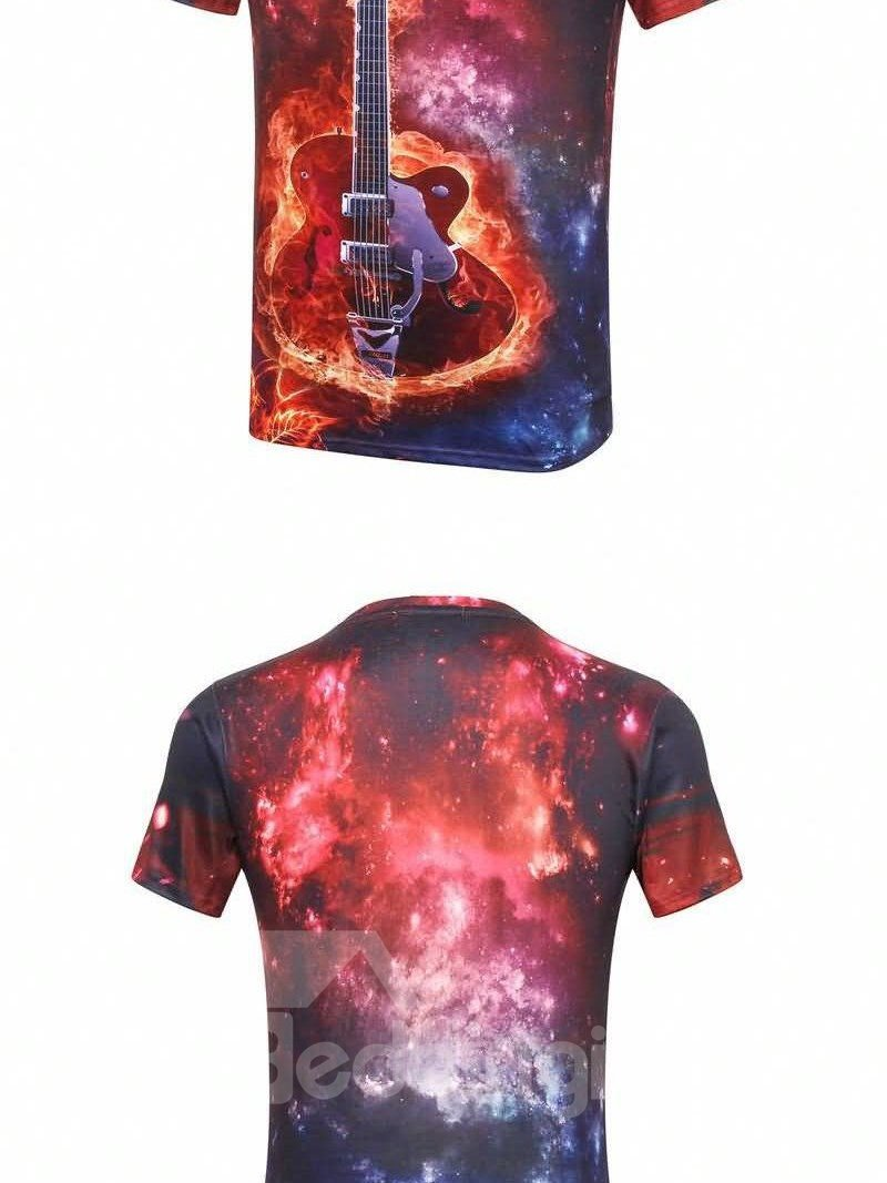 Sparking Round Neck Guitar And Nebula Pattern 3D Painted T-Shirt