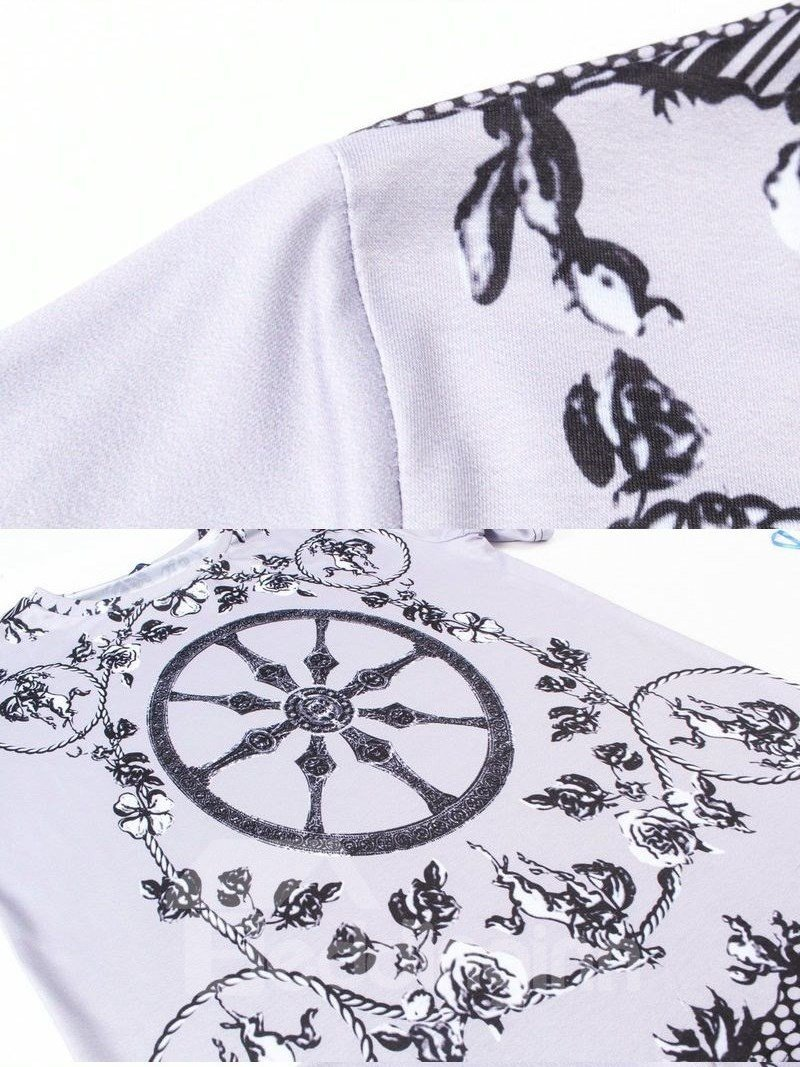 Glamorous Round Neck Anchor And Flower Pattern 3D Painted T-Shirt