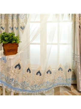 European Style Damask Embroidery White Custom Sheer Curtain