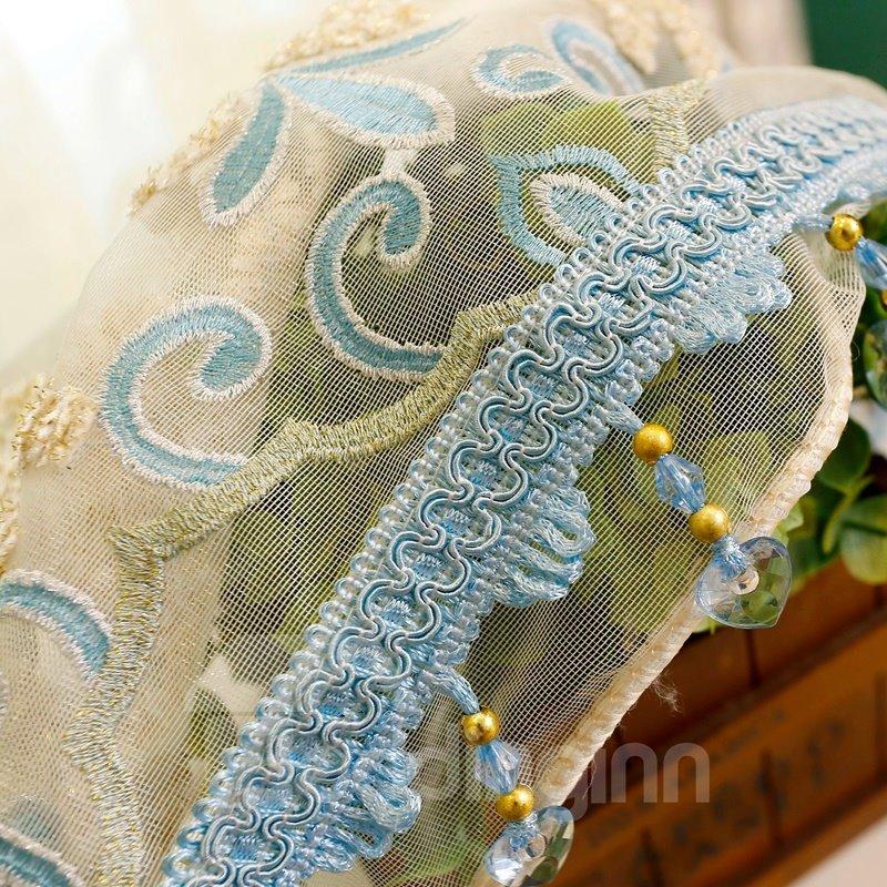 European Style Damask Embroidery White Custom Sheer Curtain