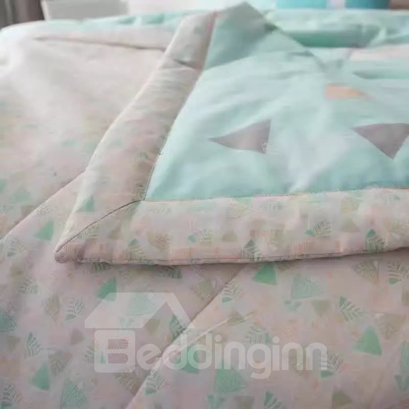 Fresh Style Daisy Print Blue Cotton Air Conditioner Quilt