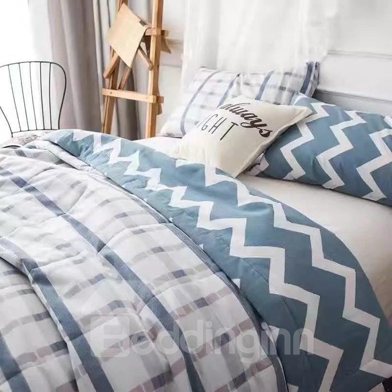 Concise Design Plaid Print Pure Cotton Lightweight Quilt
