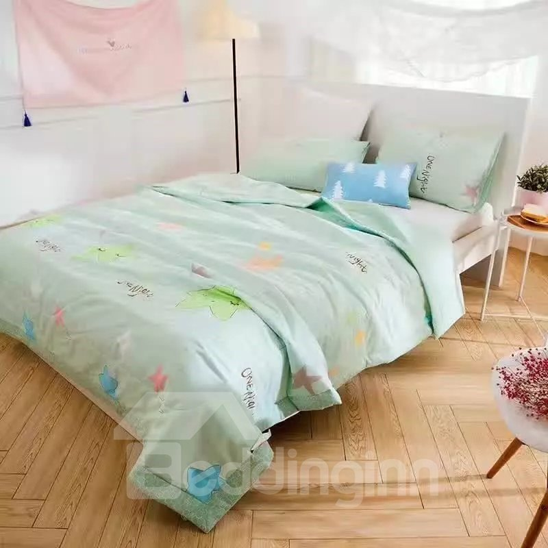 Fresh Style Lovely Stars Print Green Cotton Lightweight Quilt