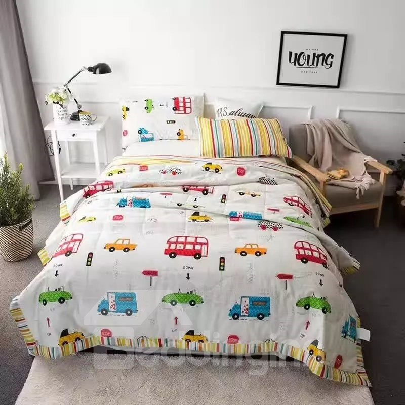 Colorful Car Print White Pure Cotton Lightweight Quilt