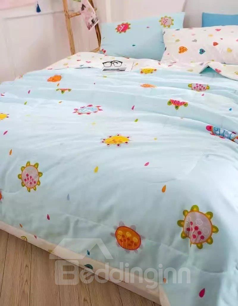 Special Design Cartoon Print Blue Lightweight Cotton Quilt