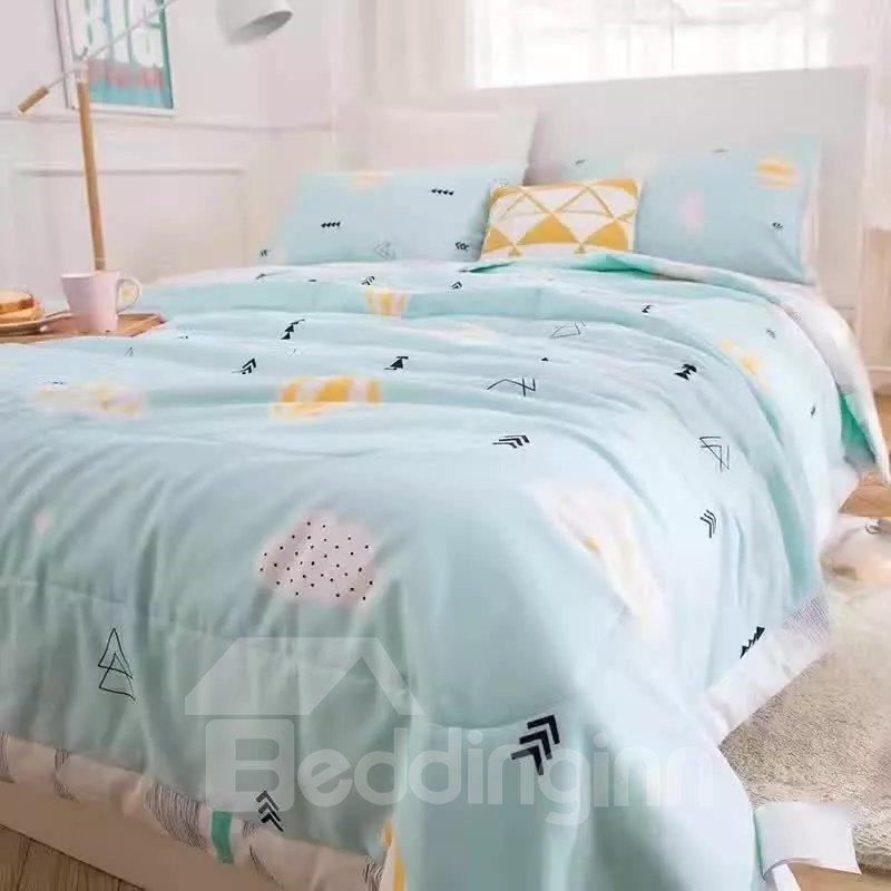 Chic Hot-air Balloon Print Blue Cotton Quilt