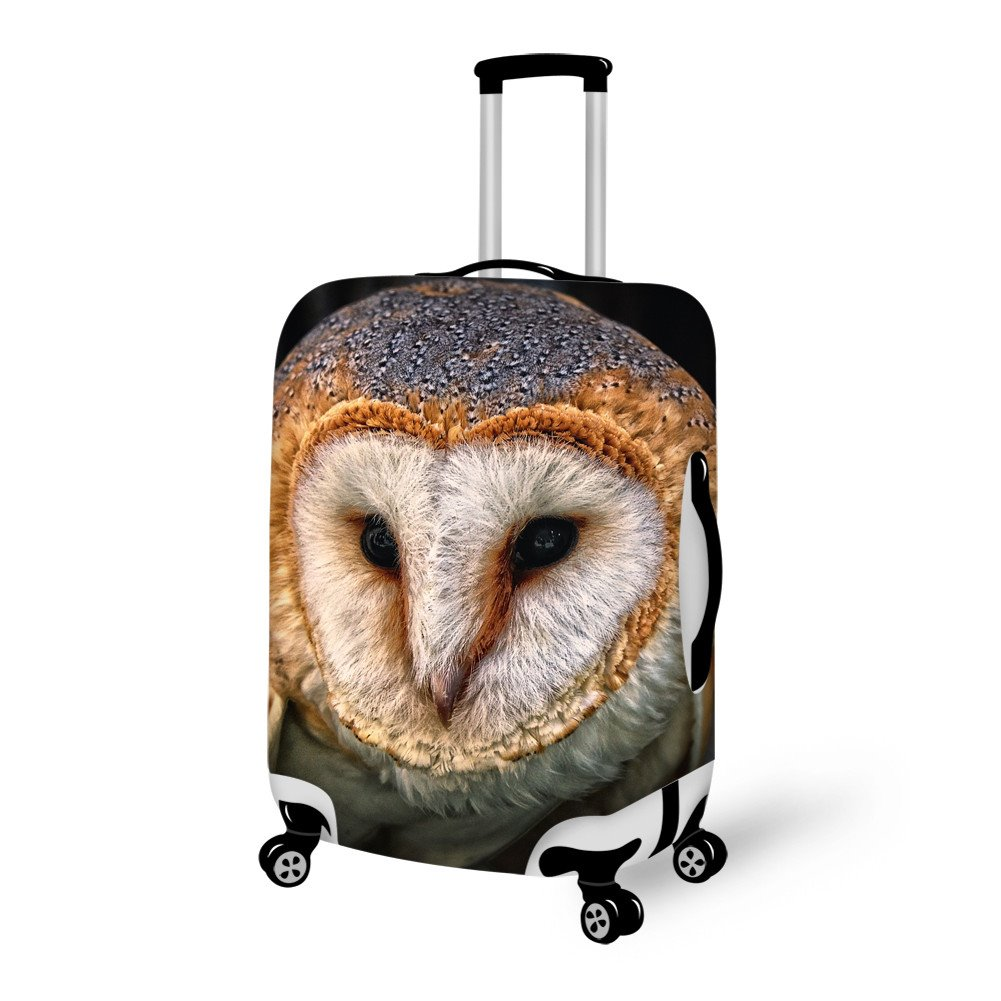 Stunning Owl Face Pattern 3D Painted Luggage Cover