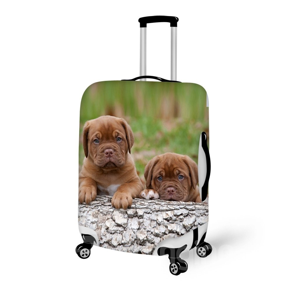 Bright Puppy And Wood Pattern 3D Painted Luggage Cover