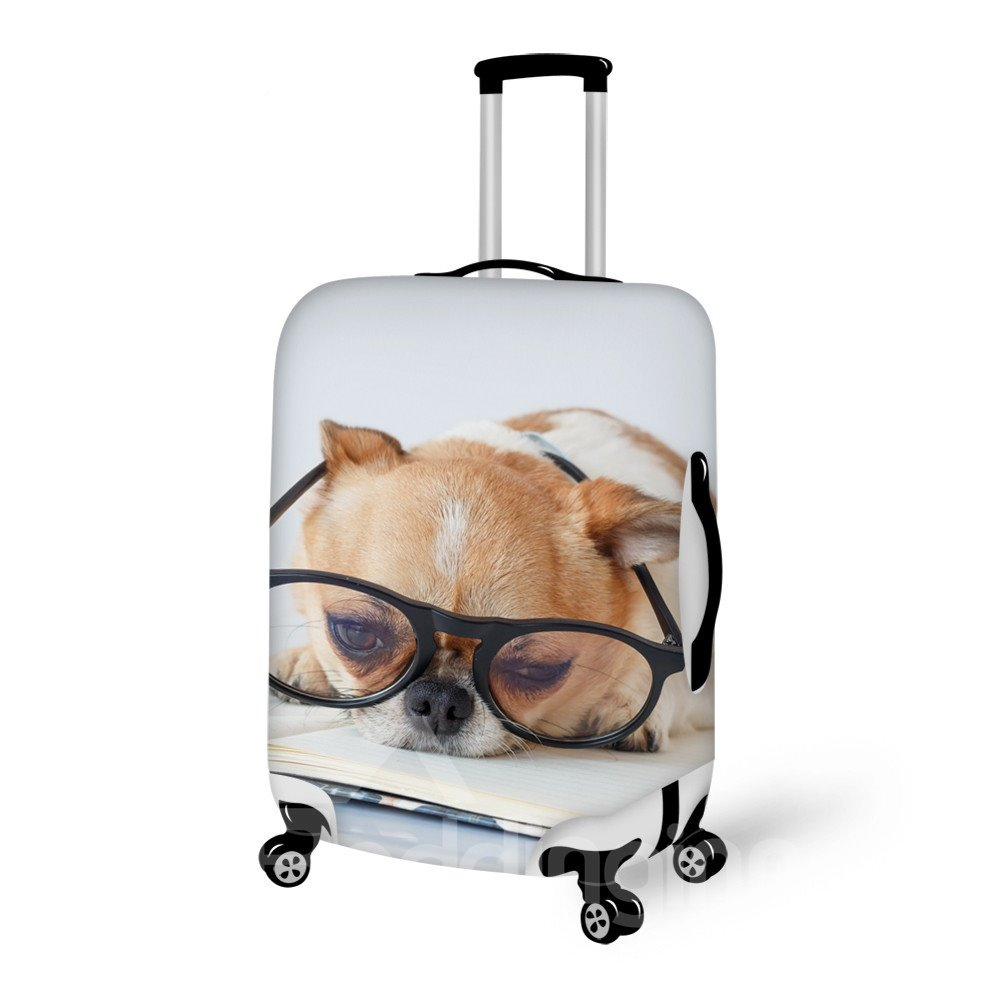Learning Dog Pattern 3D Painted Luggage Cover