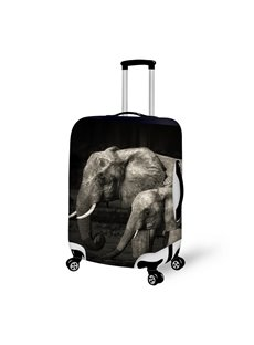 Unique Mommy Elephant And Baby Pattern 3D Painted Luggage Cover
