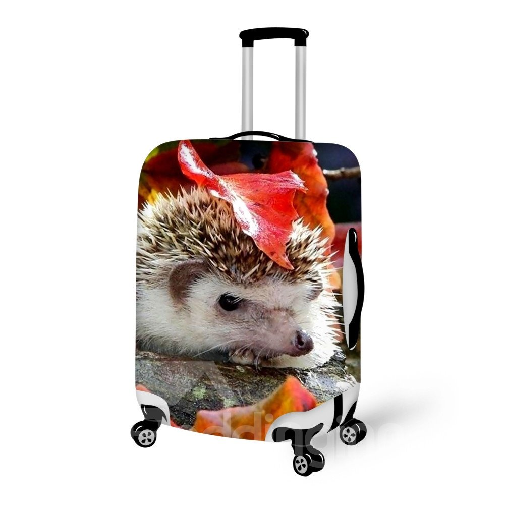 Fantastic Hedgehog And Leaves Pattern 3D Painted Luggage Cover