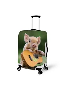 Enchanting Piglet And Guitar Pattern 3D Painted Luggage Cover