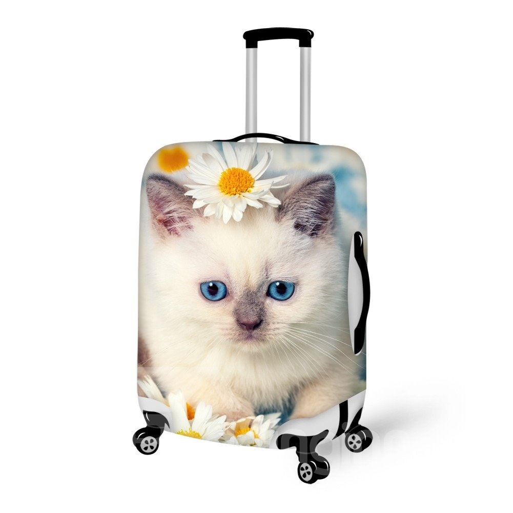 Gorgeous Cat And Flower Pattern 3D Painted Luggage Cover