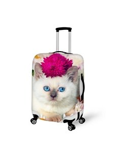 Elegant Cat And Flower Pattern 3D Painted Luggage Cover