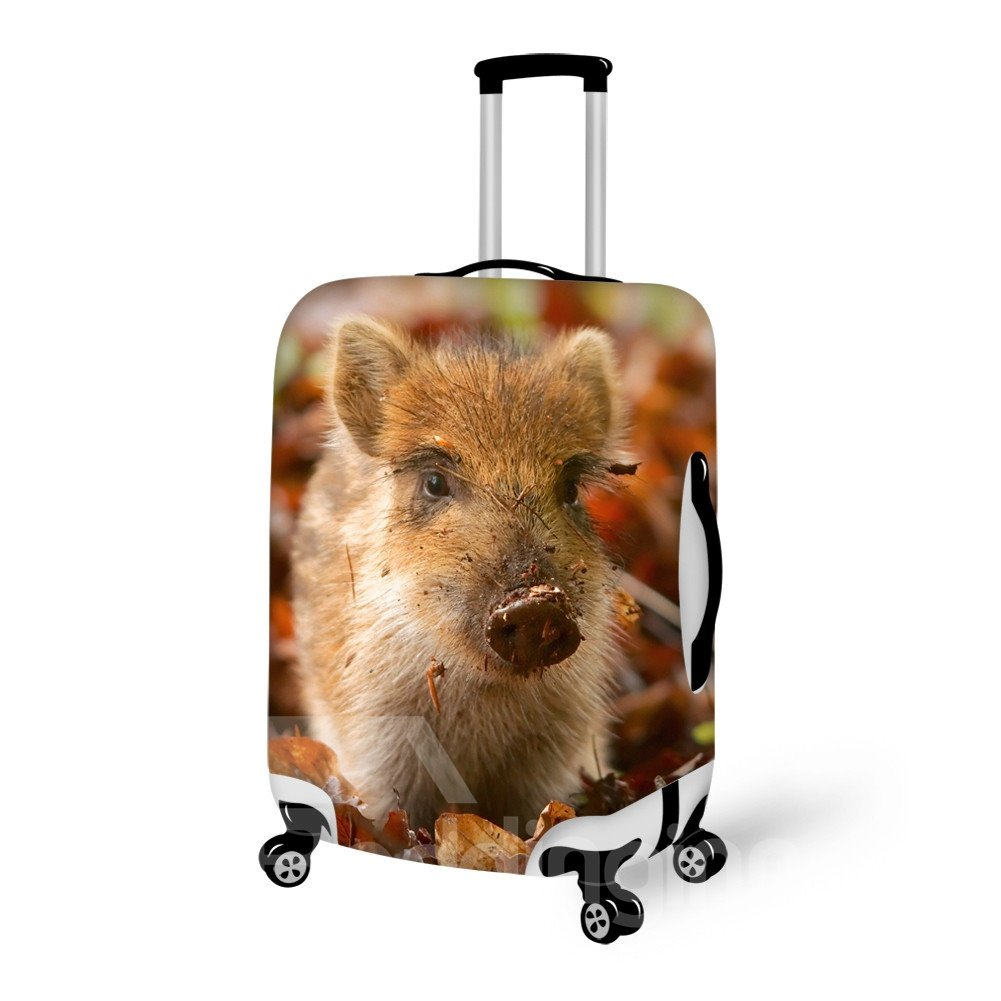 Super Lovely Piglet on Leaves Pattern 3D Painted Luggage Cover
