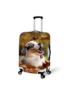 Adorable Doggy And Leaves Pattern 3D Painted Luggage Cover