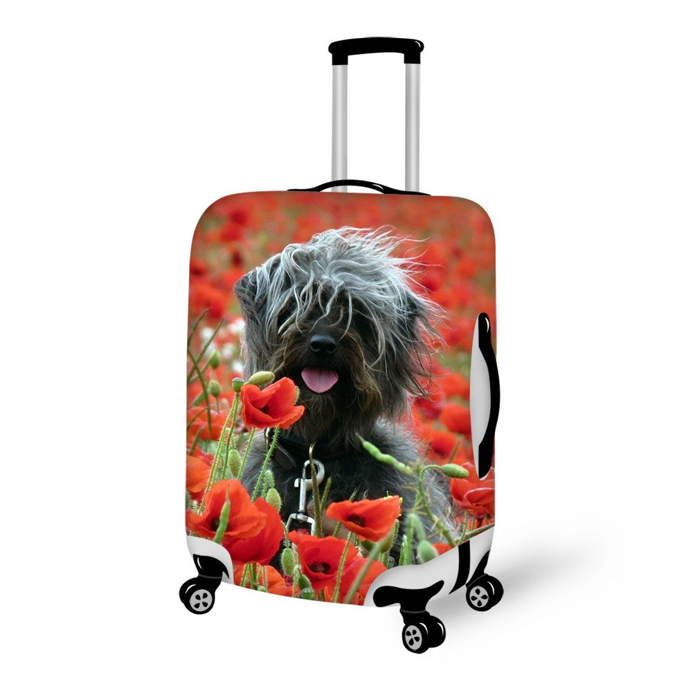 Adorable Doggy And Flower Pattern 3D Painted Luggage Cover