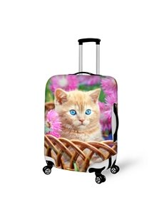 Super Cute Kitten in Basket Pattern 3D Painted Luggage Cover