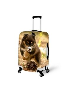 Lively Puppy Dog And Flower Pattern 3D Painted Luggage Cover