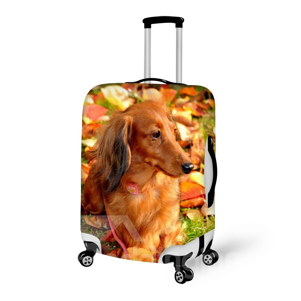 Elegant Dog And Leaves Pattern 3D Painted Luggage Cover