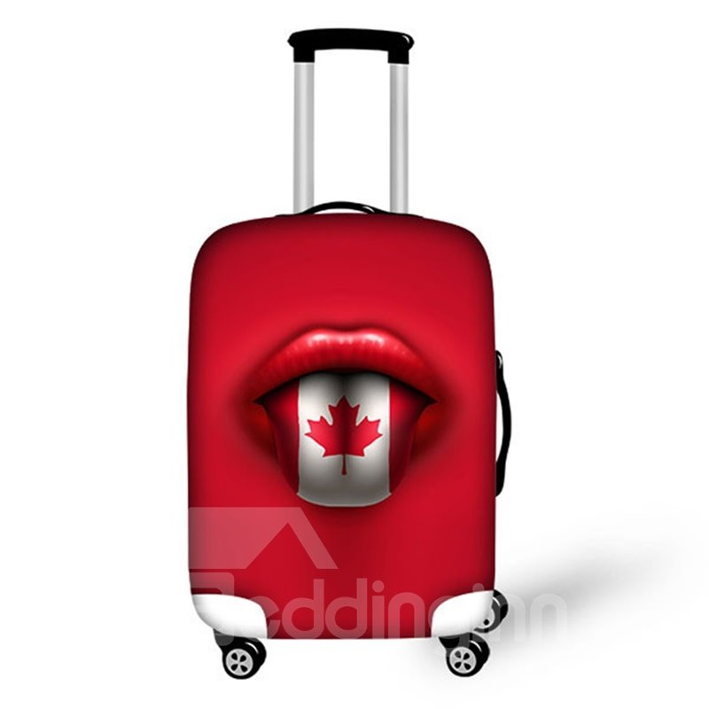 Cool Mouth With Maple Flay Pattern 3D Painted Luggage Cover