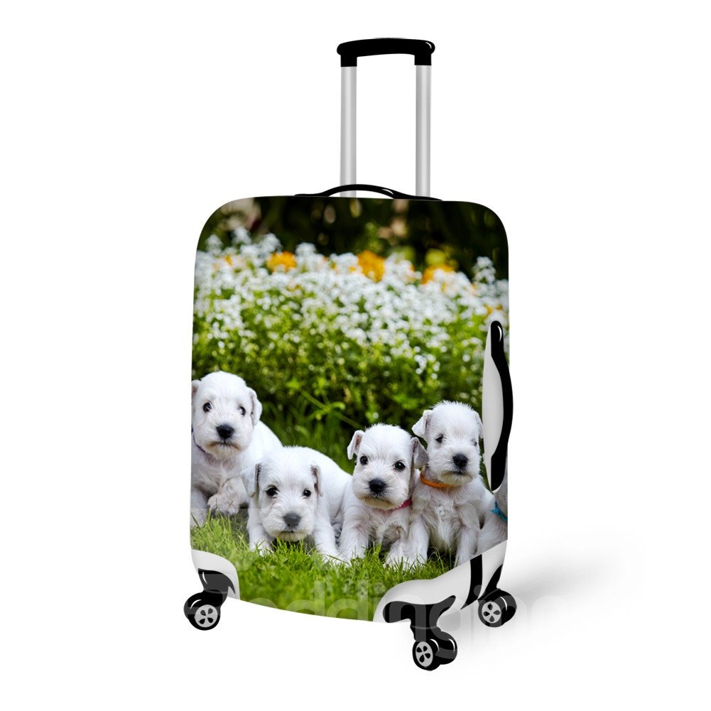 Lovely Puppy Dog And Flower Pattern 3D Painted Luggage Cover