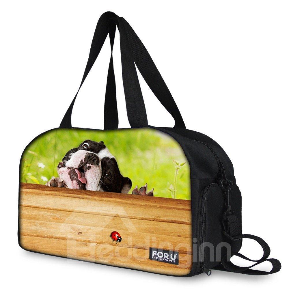 Green Animal Print Nylon Large Capacity Outdoor Shoulder 3D Travel Bags