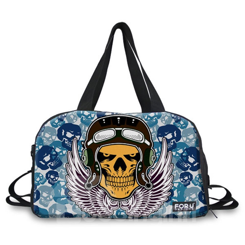 Human Skeleton Print Nylon Large Capacity Outdoor Shoulder 3D Travel Bags