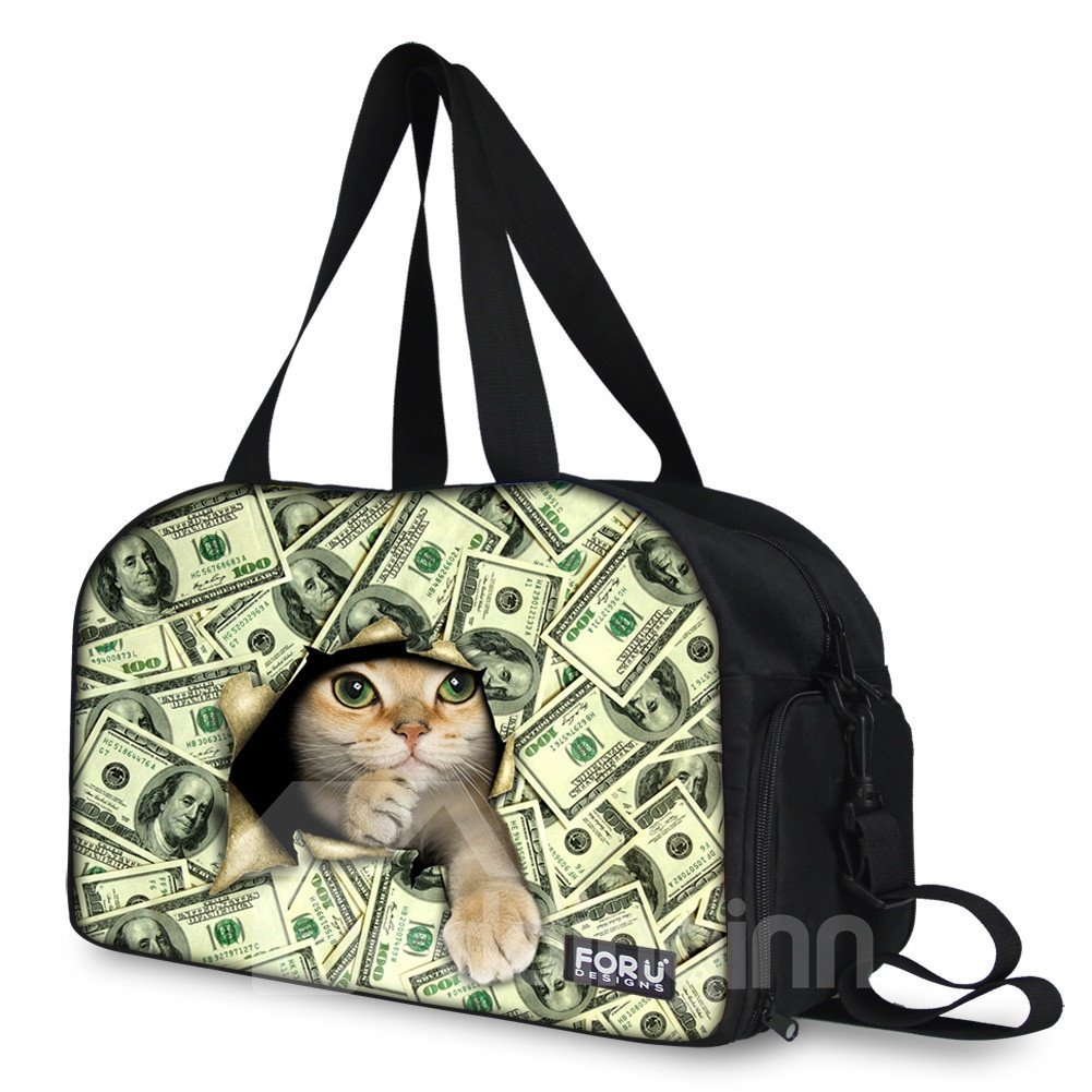 Cat with Money Pattern Nylon Large Capacity Shoulder 3D Travel Bags