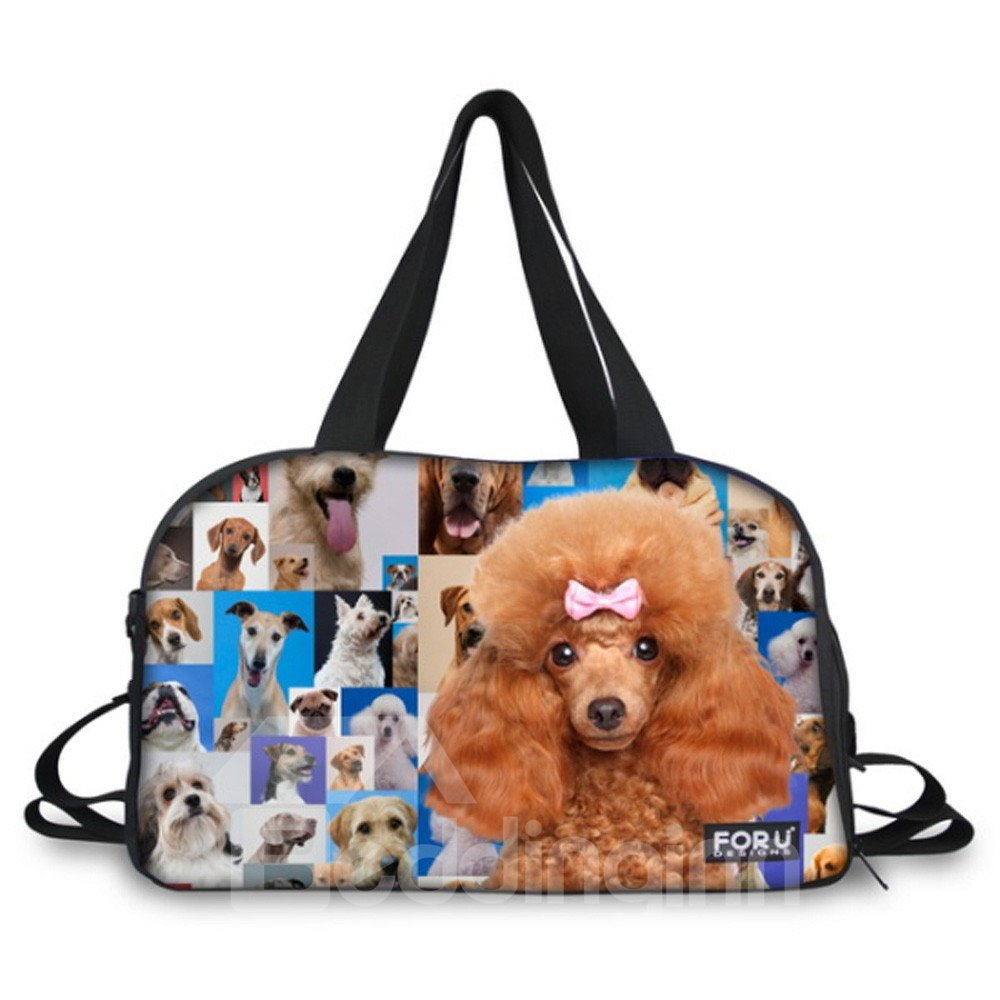 Dog Print Nylon Large Capacity Outdoor Shoulder 3D Travel Bags