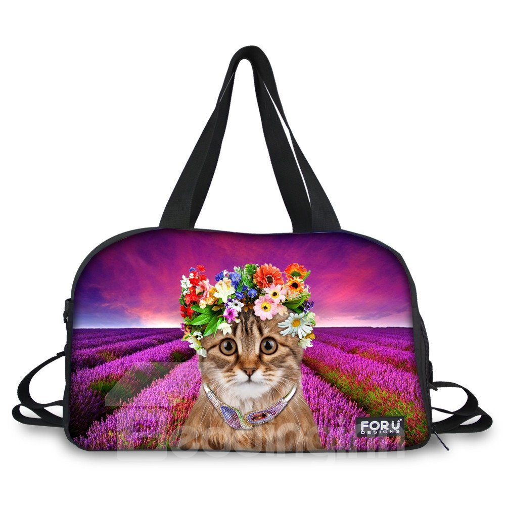 Cat with Flower Pattern Nylon Large Capacity Shoulder 3D Travel Bags