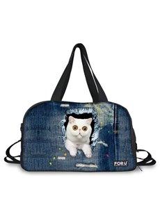 Blue Cat Pattern Nylon Large Capacity Gym Shoulder 3D Travel Bags