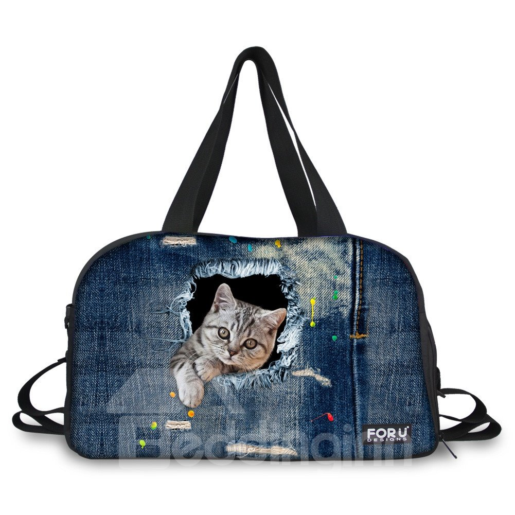 Blue Cat Pattern Nylon Large Capacity Gym Shoulder 3D Travel Bags