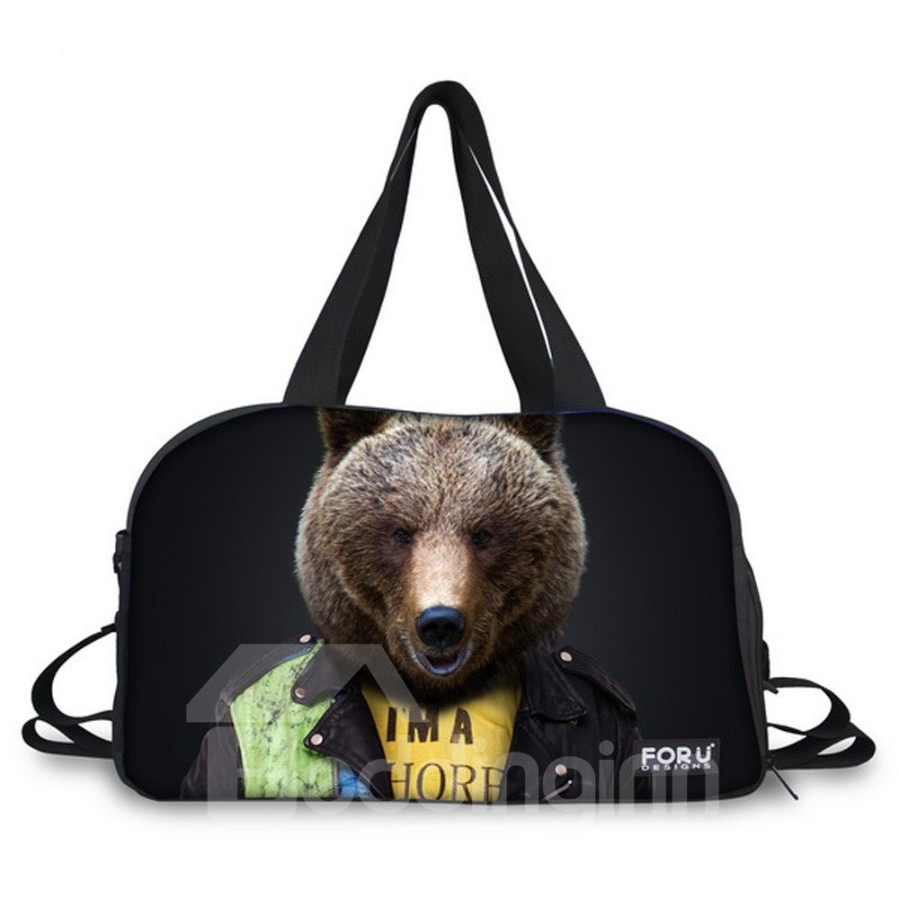 Dog with Clothes Nylon Large Capacity Shoulder Black 3D Travel Bags