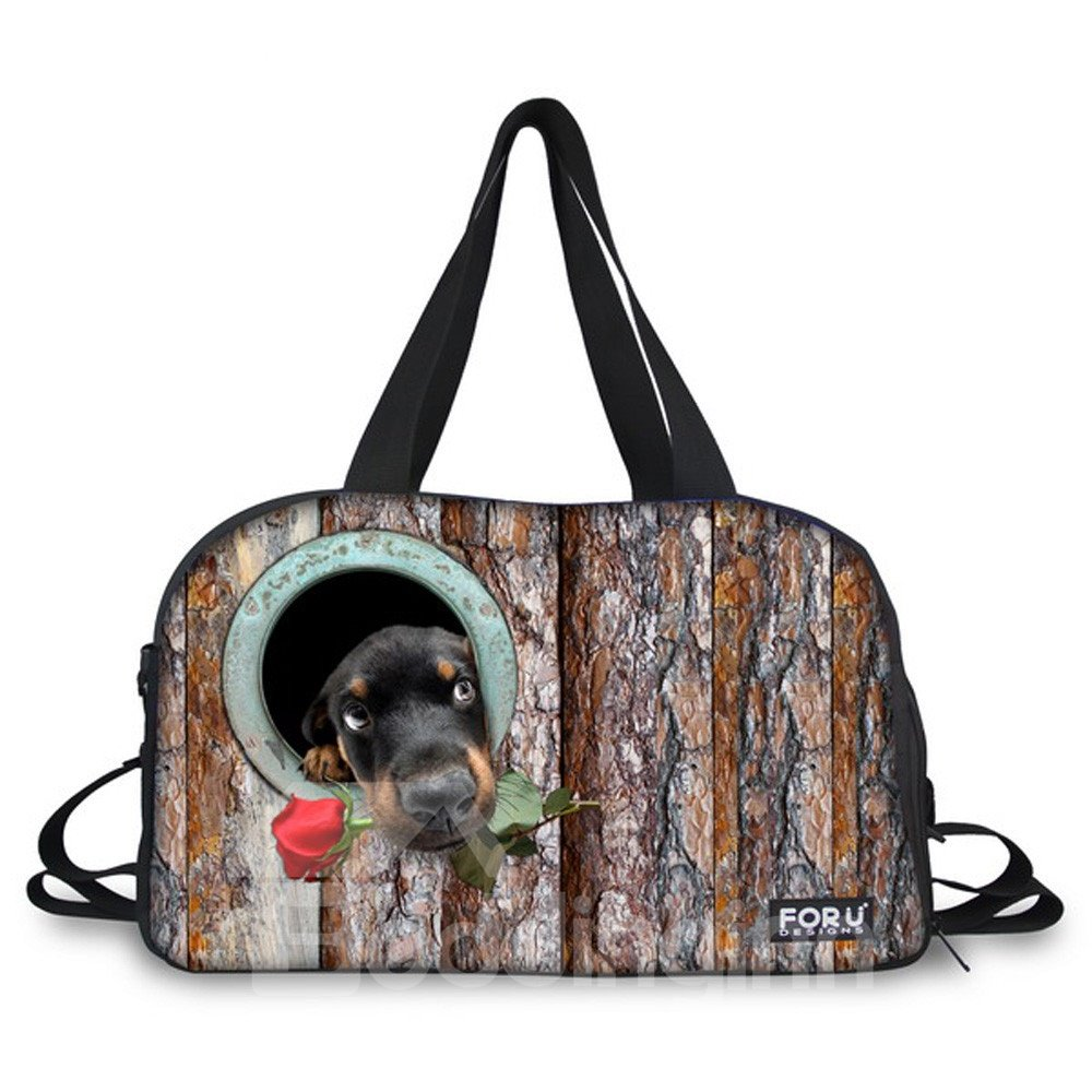 Dog with Flower Pattern Nylon Large Capacity Shoulder 3D Travel Bags