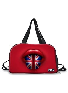 Red Mouth Pattern Nylon Large Capacity Outdoor Shoulder 3D Travel Bags