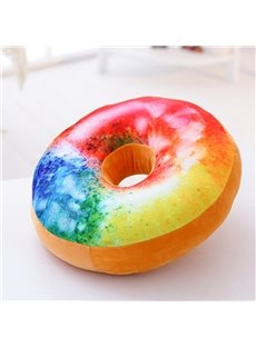 Donut Design Round-shaped Colorful Ornamental Throw Pillow