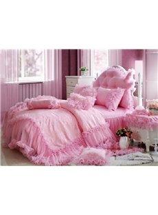 Romantic Pink Total Lace Trim Cotton Cinderella Duvet Cover Sets