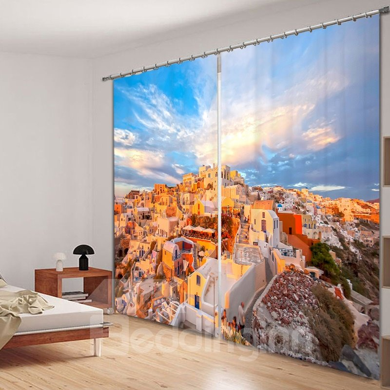 Amazing Scenery of Greece 3D Printed Polyester Curtain