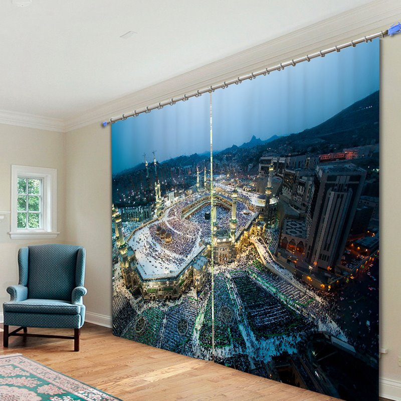 Bustling City Scenery 3D Printed Polyester Curtain