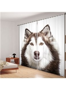 Cute Little Husky 3D Printed Polyester Curtain