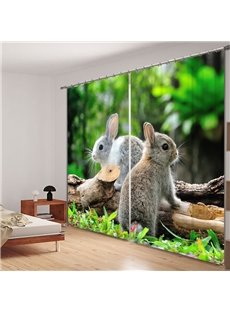 Cute Rabbits Standing on the Wood 3D Printing Polyester Curtain