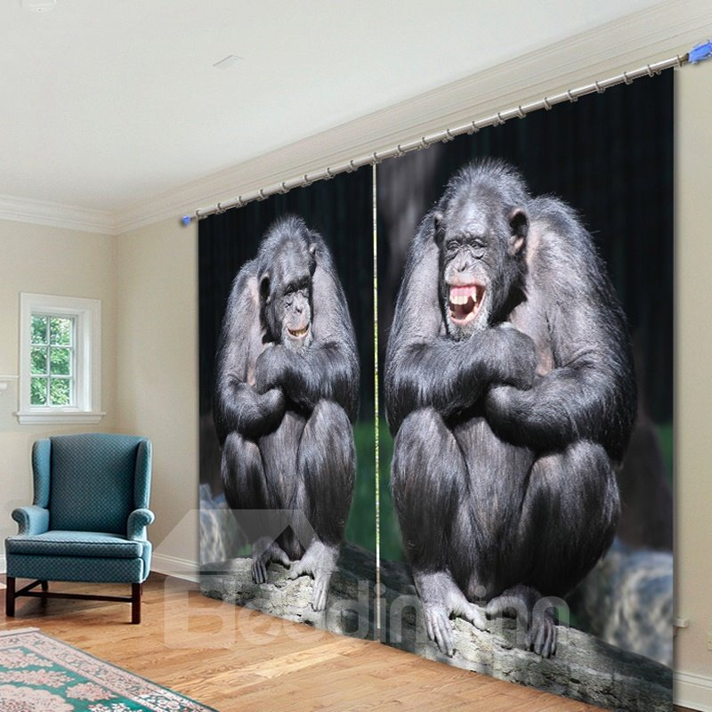3D Couple Gorilla Laughing Printed Thick Polyester Living Room Decorative and Shading Curtain